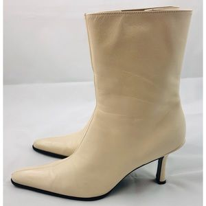 Nine West Beige Leather Low Heel Ankle Booties 8.5